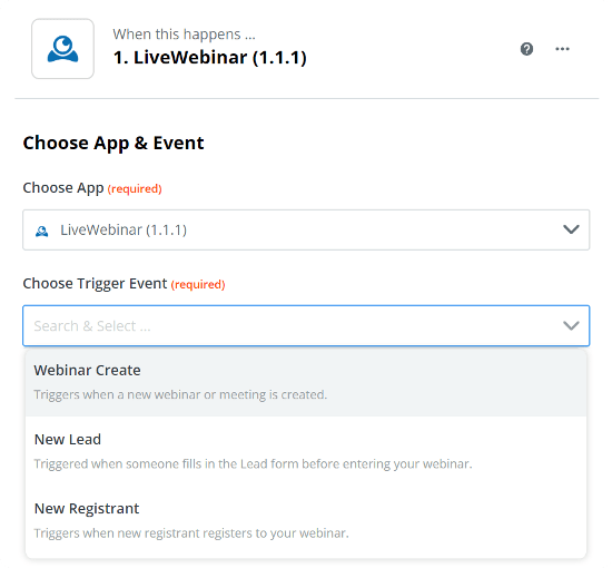 LiveWebinar Zapier Integration